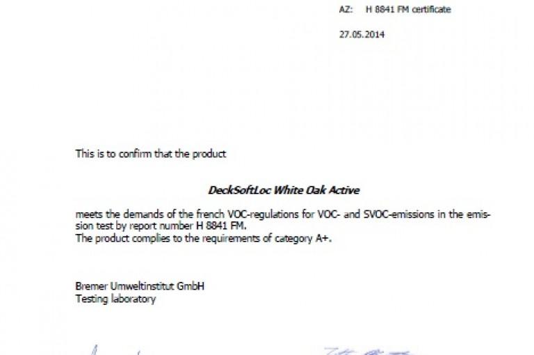 Deck Soft Loc White Oak Active Certificate