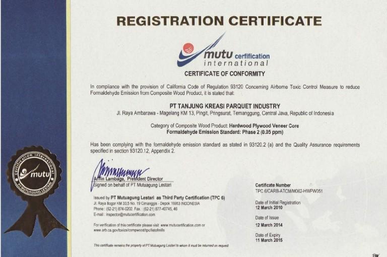 Mutu Certificate