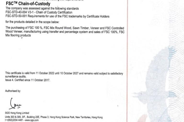 FSC<sup>®</sup> Chain-Of-Custody Certificate<br>License Code (FSC-C137835)